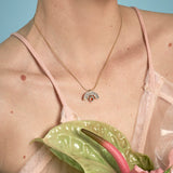 James Necklace - Bronze - Mosaic Inlay - Cream/Peach