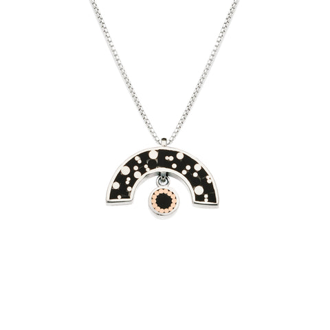 James Necklace - Silver - Mosaic Inlay - Black