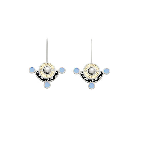 Molly Earrings - Silver - Black