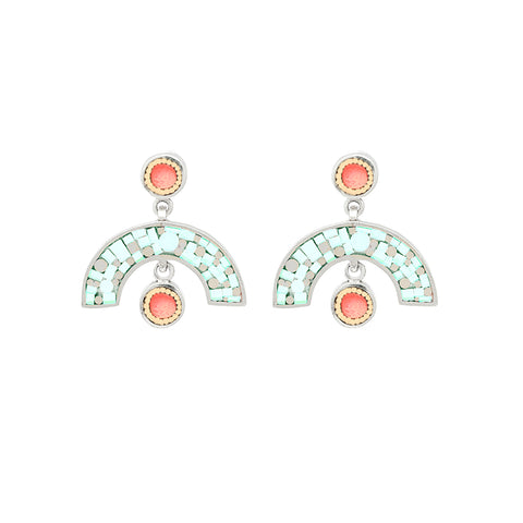 Sweet Baby James Earrings - Silver - Mosaic Inlay - Aqua