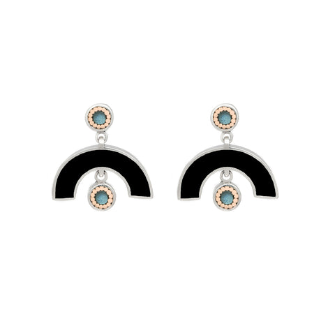 Sweet Baby James Earrings - Silver - Solid Inlay - Black