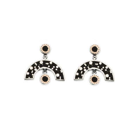 Sweet Baby James Earrings - Silver - Mosaic Inlay - Black