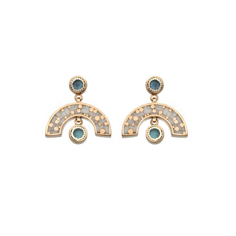 Sweet Baby James Earrings - Bronze - Mosaic Inlay - Cream/Blue