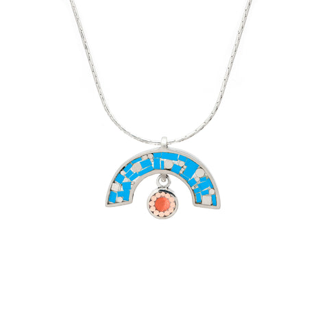 James Necklace - Silver - Mosaic Inlay - Blue