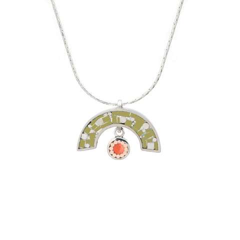 James Necklace - Silver - Mosaic Inlay - Olive