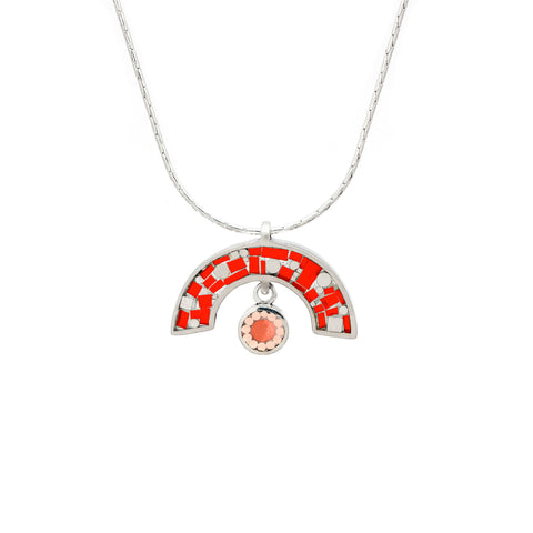 James Necklace - Silver - Mosaic Inlay - Red