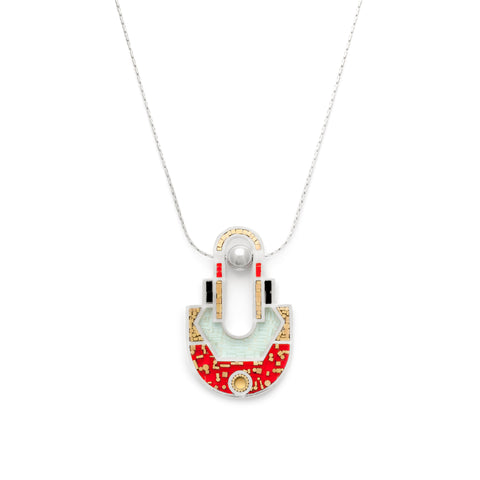 To Perfection Necklace - Mosaic Inlay - Aqua/Red