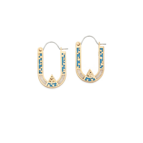 Wray Earrings - 10k Yellow Gold - Blue