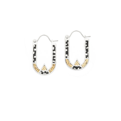 Wray Earrings - Silver - Black/Brass