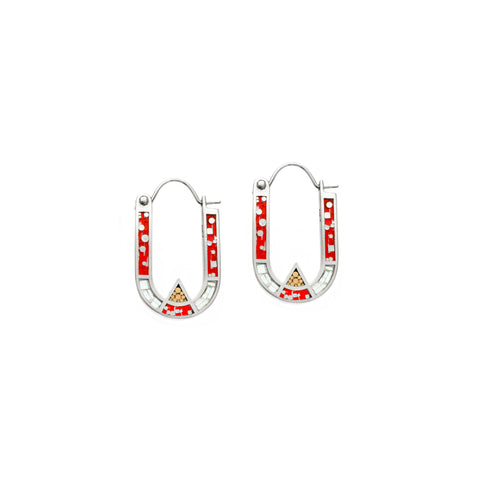Wray Earrings - Silver - Red/Aqua