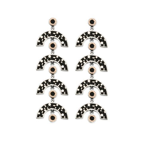 James Earrings - Silver - Mosaic Inlay - Black