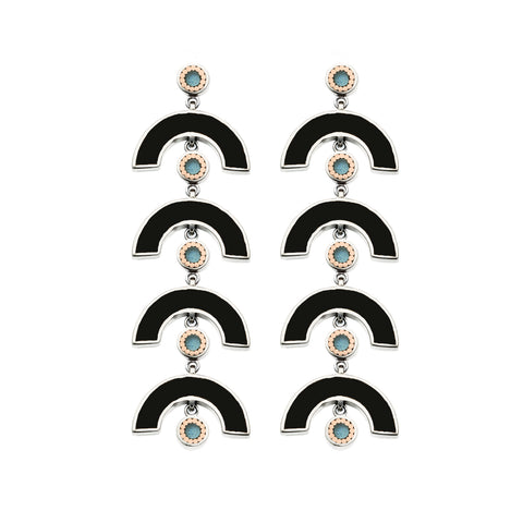 James Earrings - Silver - Solid Inlay - Black/Blue