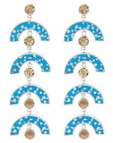 James Earrings - Silver - Mosaic Inlay - Blue