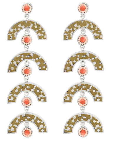 James Earrings - Olive Mosaic Inlay