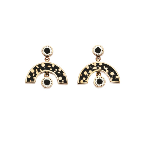 Sweet Baby James Earrings - Bronze - Mosaic Inlay - All Black