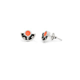 Brae Earrings - Silver- Mosaic Inlay - Black/Peach