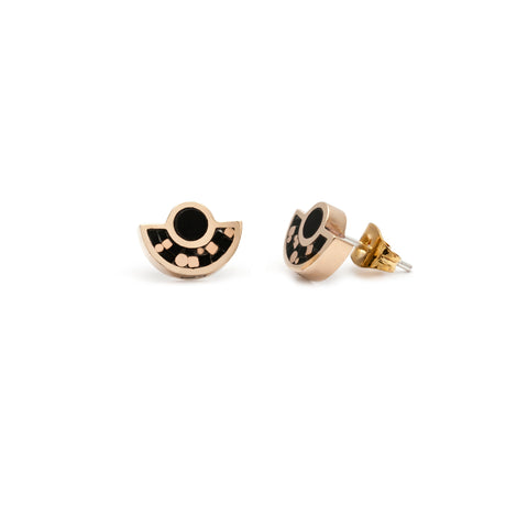 Brae Earrings - 10K yellow gold - Mosaic Inlay - All Black