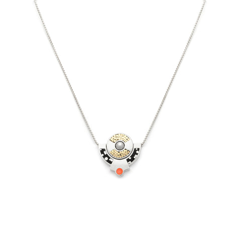 Petit Lapin Necklace - Black/Peach  - Silver