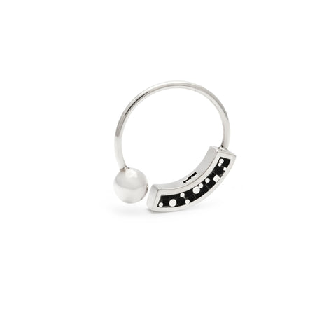 Cyndy Ring - Silver - Mosaic Inlay - Black