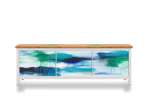 Julie Hawkins art on modify credenza
