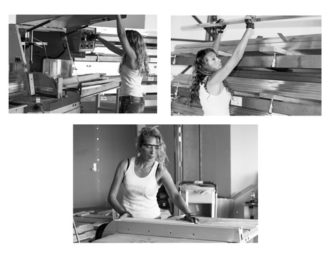 designer and owner of Modify Furniture, Marci Klein working in the studio