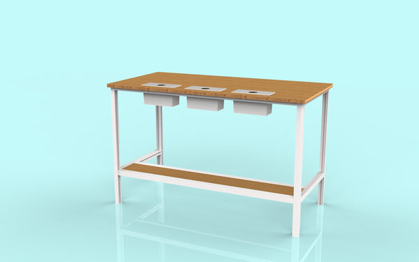 polychrome modern desk with bamboo and aluminum