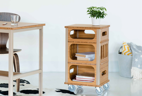 View Of Modify Bamboo File With Casters With Desk In Home Office