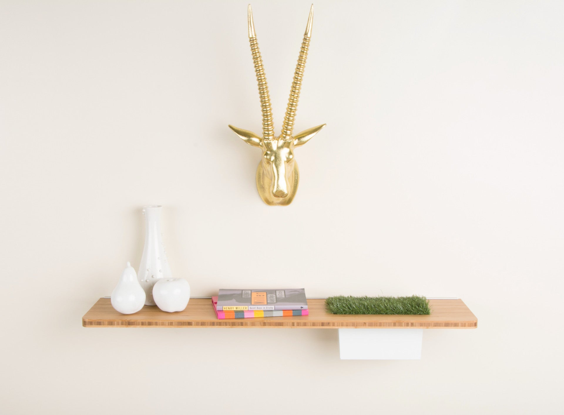 Modern floating wall shelf with innovative storage - modify furniture