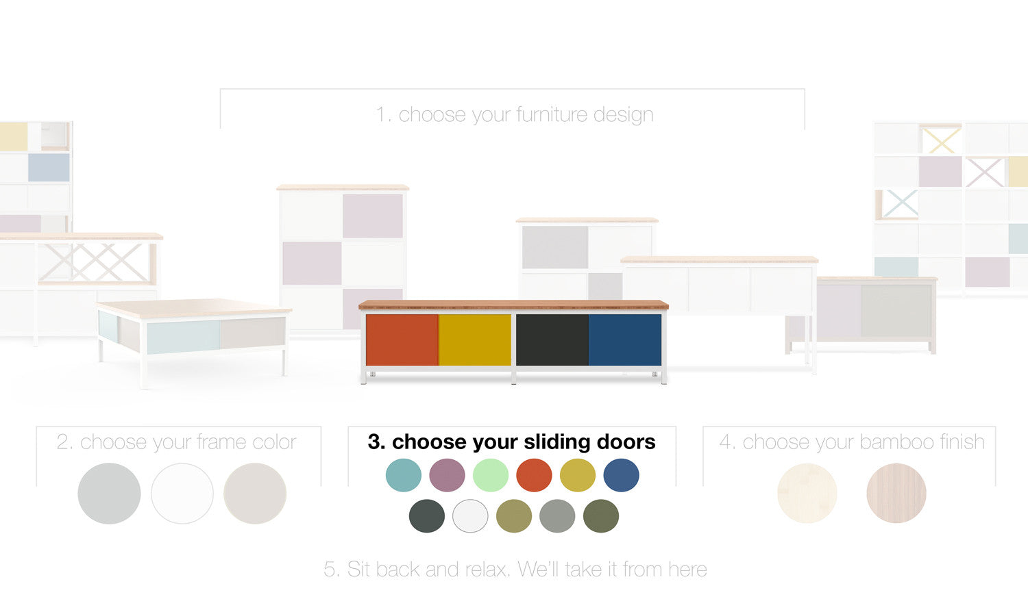 modify modern furniture with 11 colors to  customize