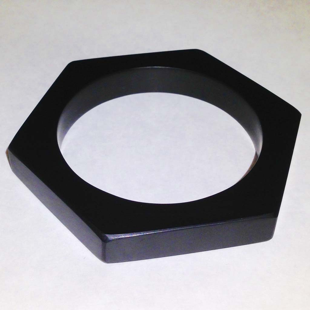 Hexagonal black Corian bangle