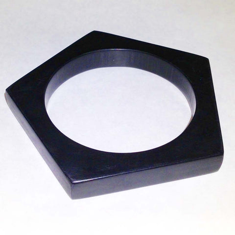 Pentagonal black Corian bangle
