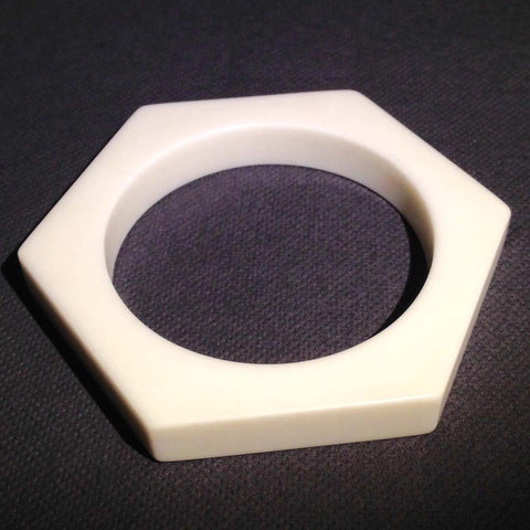 Hexagonal white Corian bangle