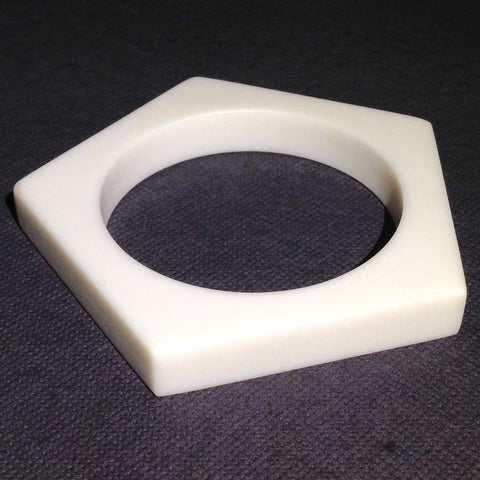 Pentagonal white Corian bangle