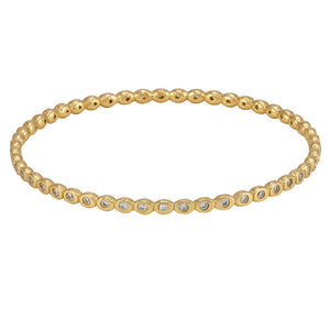 La Vie en Rose, Teeny Pod Bangle Gold White CZ