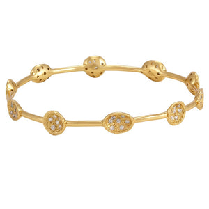 La Vie en Rose, Melinda Maria Susan Mini Pod Pave Bangle Gold White CZ 18K