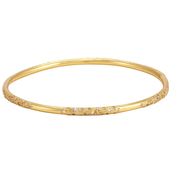 La Vie en Roe, diamond, Galaxy Melted Bangle Gold White Cubic Zirconia CZ 18K