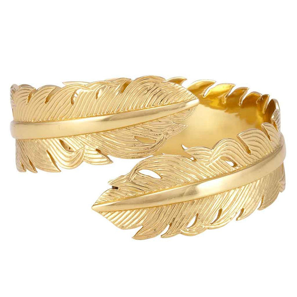 La Vie en Rose, Feather Cuff Plain Gold
