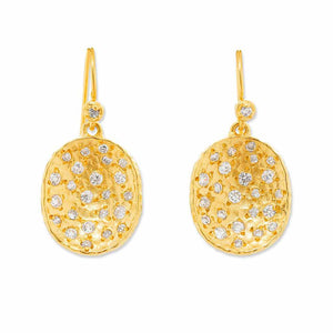 La Vie en Rose, Rose Pod Earrings Gold White CZ