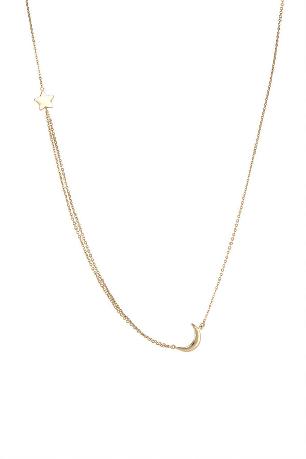 La Vie en Rose, Baby Moon + Star Necklace Gold 14K