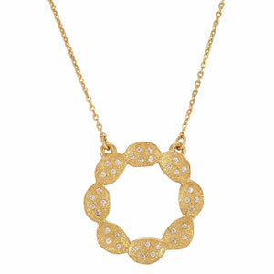 La Vie en Rose, Ashley Necklace Gold White Cube Zirconia CZ