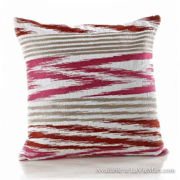 Pink Embroidered Zig Zag Pillow