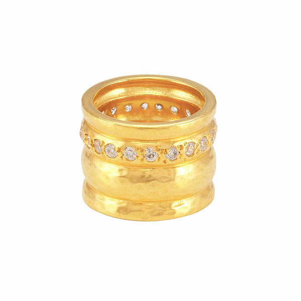 La Vie en Rose, Cigar Band Ring Gold With White Diamond Cubic Zirconia CZ Stones