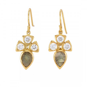 La Vie en Rose, Bari Earrings Gold Labradorite White Cubic Zirconia CZ