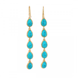 La Vie en Rose, Leaf Drop Earrings Gold Turquoise