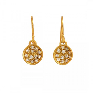 La Vie en Rose, Mini Nicole Earrings Gold White Cubic Zirconia CZ