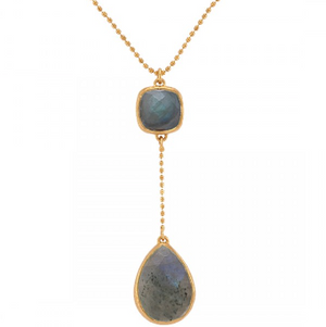 La Vie en Rose, Clarence Necklace Gold Labradorite