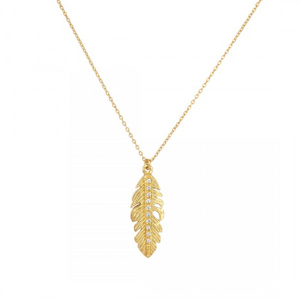 La Vie en Rose, Nina Feather Mini Necklace Gold White Cubic Zirconia CZ