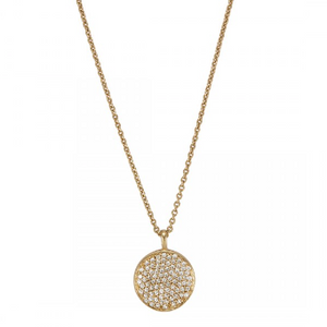 La Vie en Rose, pendant, Kalena Pave Necklace Gold White Cubic Zirconia