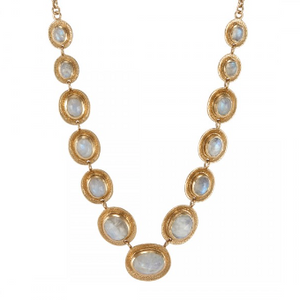 Anthony Necklace Gold Rainbow Moonstone