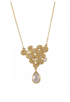 La Vie en Rose, Leslie Pod Cluster Necklace Gold White Cubic Zirconia 14K
